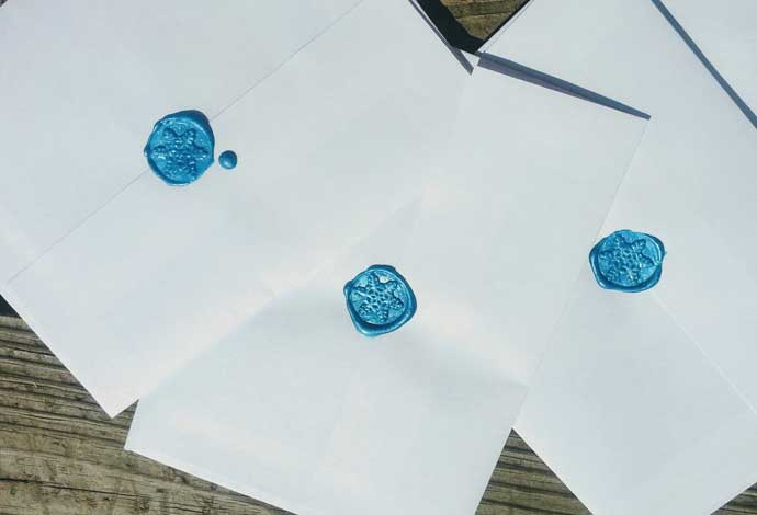 Christmas Mail Ideas - Sealing Wax with Blue Snowflakes